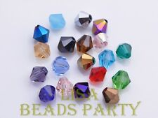 New 100pcs 4mm Bicone Faceted Crystal Glass Loose Spacer Beads Bulk Mixed Color