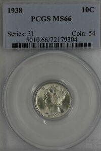 1938 .10 PCGS MS 66 Mercury, Winged, Liberty Head Dime, Liberty 10 Cents