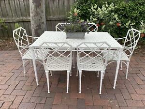 Vintage French Louis Style Outdoor Dining Suite~Table~6 Chairs~Cast Metal Bamboo