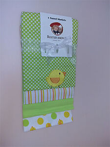"""Buster Brown 4-Cotton Flannel Receiving Blankets Variety Chic (27""""X27"""")"""