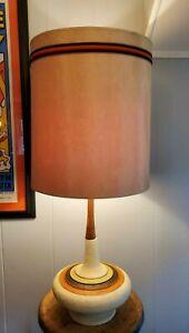 Vintage PIERI Ceramic & Teak Table Lamp Mid Century Modern Retro Orange & Biege
