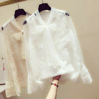 Fashion Women Long Sleeve Floral Lace Bow V-Neck Casual Tops Ladies Shirts