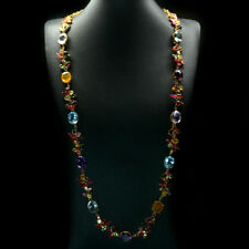REAL! FANCY COLOR TOPAZ, KUNZITE SAPPHIRE TOURMALINE...925 SILVER LONG NECKLACES