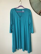 Plus Size 2X Boutique Lace Up Neck Teal Swing Dress Casual Modest Fall
