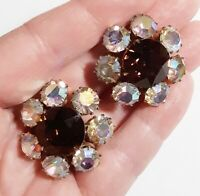 Vintage Amber & Aurora Borealis Goldtone Large Round Chunky Clip Earrings Flashy