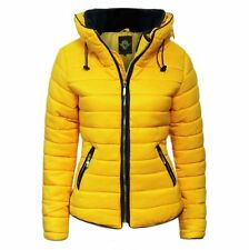 Womens Kids Ladies Quilted Padded Puffer Bubble Fur Collar Warm Jacket Coat Large Mustard