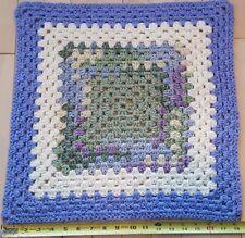 "Handmade Crochet Small Baby Blanket Throw Afghan Purple Green Tan 18.5×18.5"""