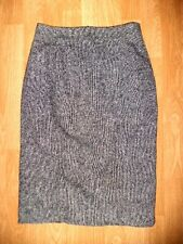 HOBBS 80% wool tweed black white lined smart office business pencil skirt size 8