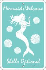 Mermaids Welcome Tin Sign Tin Sign - 8x12
