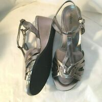 Style Co Silver Wedge Sandals 7W Strappy Wide