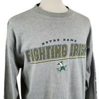 Notre Dame Fighting Irish Long Sleeve T-Shirt XL Crew Heather Gray Briar Creek