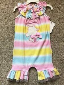 NWT Baby Infant Toddler Girl Bonnie Baby Pastel Unicorn Fancy Romper 12m 24m