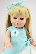 "16"" semi soft vinyl girl play doll education toy with golden hair and blue eyes"