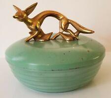 Vtg Brass Fox Ribbed Green Metal Powder Box Trinket Candy Dish 40's Art Deco HTF