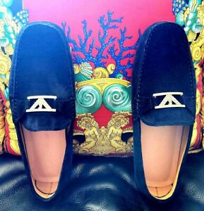 NEW, EMPORIO ARMANI, Suede Driving Shoe In Blue. Size 7 1/2. Retail $645 + Tax.