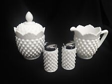 Vintage Fenton Hobnail Sugar & Creamer Salt & Pepper Set