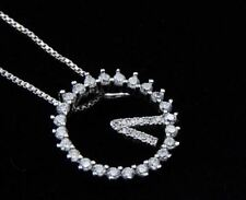 "1CT Diamond Clock Necklace 925 Sterling Silver 18"" Love Gift heart MOM-NL165"
