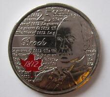 2012 CANADA 25¢ SIR ISAAC BROCK COLOURED BRILLIANT UNCIRCULATED QUARTER COIN
