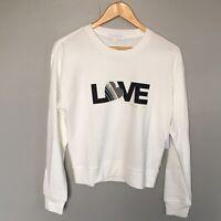 Spiritual Gangster Love Savasana Pullover white sweatshirt Crew Neck Medium M