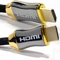 1m Braided Ultra HD HDMI Cable v2.0 High Speed + Ethernet HDTV 2160p 4K 3D GOLD