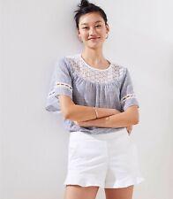 Ann Taylor Loft Women's White Cotton Ruffle Hem Shorts Size 8