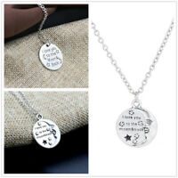 I LOVE YOU TO THE MOON AND BACK' ENGRAVED SILVER PENDANT NECKLACE LOVER GIFT NEW