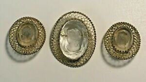 MOMUS 1968 CAMEO PENDANT AND EARRINGS SET BY WHITING AND DAVIS CO MGS869