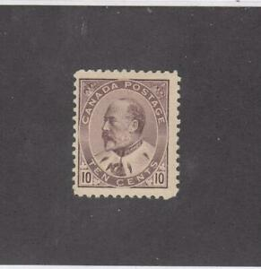 CANADA (MK4278) # 93  F-MLH  10cts  KING EDWARD VII /BROWN LILAC CAT VALUE $200