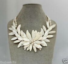 handmade Natural Sea Shell & pearl  flower necklace,Wedding Woman Jewelry