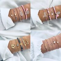 5Pcs Fashion Women Boho Heart Animal Horse Tassels Beads Bracelet Bangle Jewelry