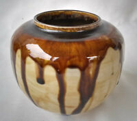 Mid Century Modern Signed Brown Drip Glaze Ceramic Vase