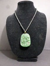 LENO JADEITE JADE EMERALD GREEN HAND CARVED DRAGON NECKLACE PENDANT HQ OLD 7388