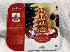 "Nordic Ware Christmas Tree Cake Baking Pan 3D 10"" Tall Dark Metal Holiday 9 Cup"