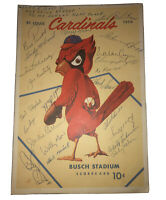 1956 St. Louis Cardinals Baseball SIGNED Scorecard 23 AUTOGRAPHS Jackie Collum