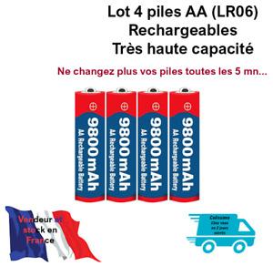 Piles batteries AA ( LR06) 1.5V Rechargeables Haute capacité 9800 mAh. Lot de 4.