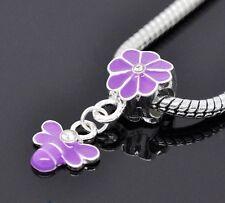 Purple Enamel Flower Bumblebee Bee Dangle Bead for European Style Charm Bracelet