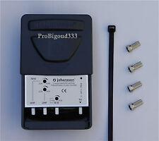 TNT Amplificateur combineur BIII/UHF/UHF complet , JOHANSSON 7410 + fiches F