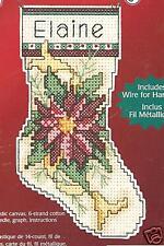 Poinsettia Christmas Tree Ornament Plastic Canvas Cross Stitch Kit