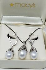 Vintage Cultured Pearl and Sterling Earring and Pendant Set