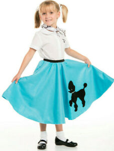 Youth Poodle Skirt Turquoise with Scarf with Musical note printed Scarf