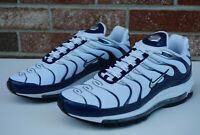 Nike Air Max 97 Plus Men's Running Shoes White/Silver/Navy  AH8144-100 Size 9
