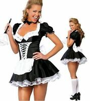 Sexy Ladies Satin Women Maid Adult Uniform Fancy Dress Costume Party Outfit