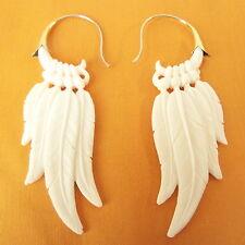 Dreamcatcher Feathers in Carved Bone Tribal Earrings .925 Sterling Silver Hook