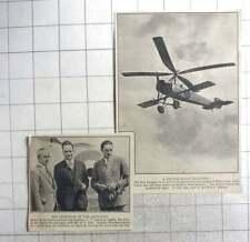 1926 British Built Autogiro, Cptn Courtney, Senor De La Cierva, Roe, Hamble