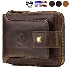 Mens Womens Genuine Leather Wallet RFID Blocking Zipper Bifold Credit Card Purse