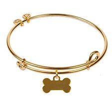 SOL 240070 Dog Bone, Bangle 18K Gold Plated