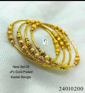 Indian Pakistani Gold Plated Broad Bangles Size 2.6