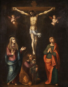17th CENTURY HUGE FLEMISH OLD MASTER OIL ON CANVAS - CHRIST & CRUCIFIXION