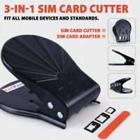 Universal 3 in 1 Standar Nano Sim Card Cutter w/ Adapter for iPhone Mobile Phone
