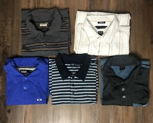 Lot of 5 OAKLEY Short Sleeve Polo Shirts Men's Size Large Golf Striped Outdoor
